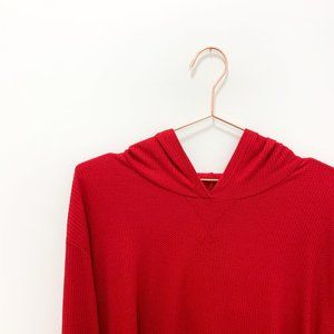 RED HOLLISTER CROPPED HOODIE, SIZE L